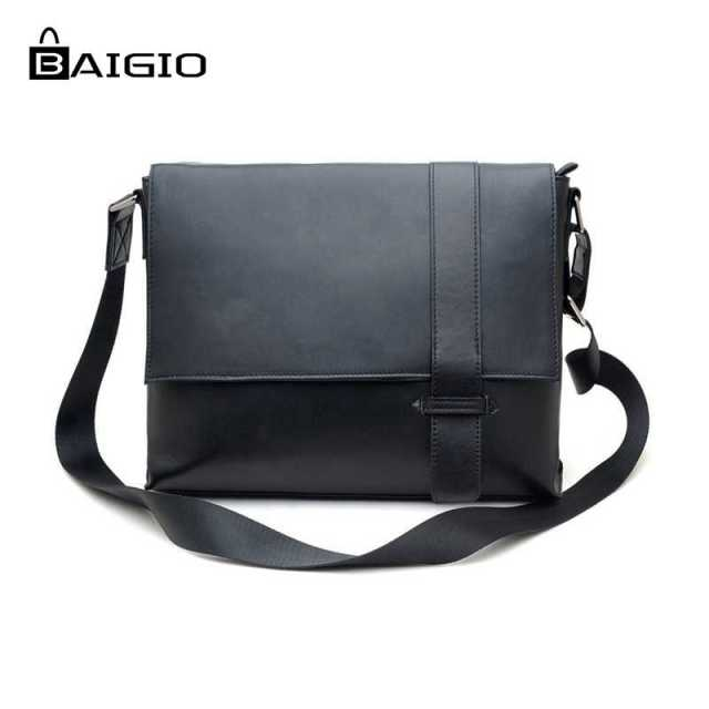 3899e17ada Baigio Men Bag Black Leather Men Briefcase 2017 Fashion 13 inch Laptop  Cases Best Designer Men s Messenger Bags Crossbody Bag