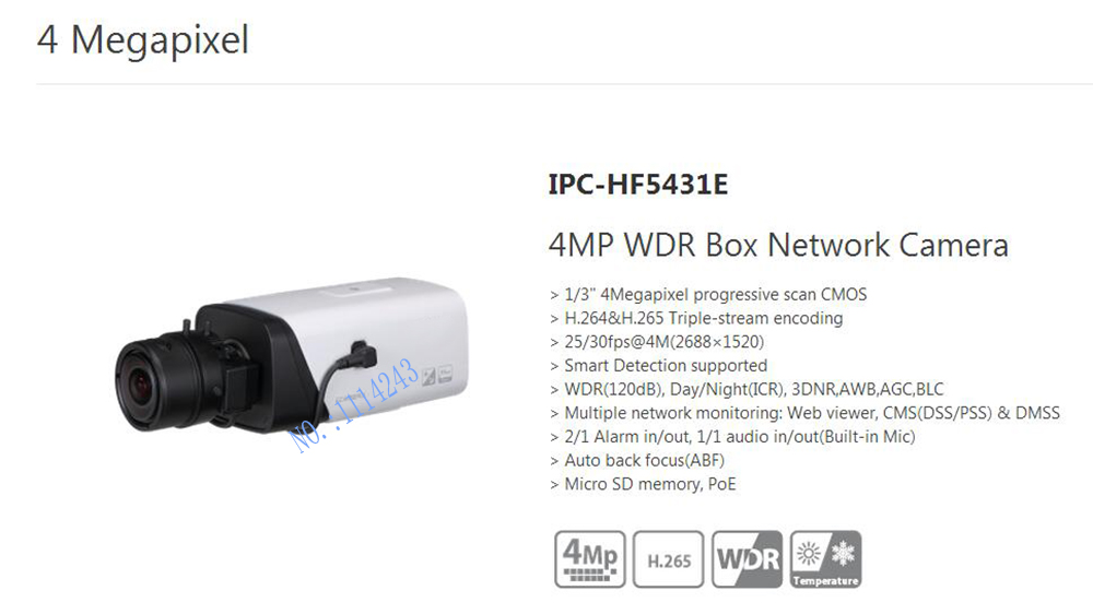 цены  Free Shipping DAHUA CCTV IP Camera 4MP WDR Box Network Camera With POE without Logo IPC-HF5431E