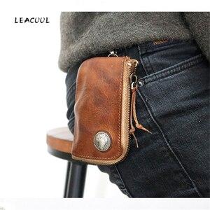 LEACOOL Genuine Leather Key Wallet Men Male Multi Function Zipper Car Key Bag Case Card Holder Coin Purse Organizer Housekeeper(China)