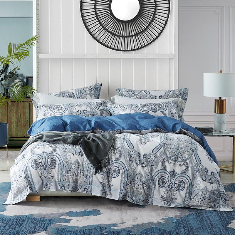 >Vintage Leaves <font><b>printed</b></font> <font><b>White</b></font> <font><b>Blue</b></font> Fresh style Egyptian Cotton Soft Bedding set Queen King Duvet Cover Bed sheet set Pillow shams