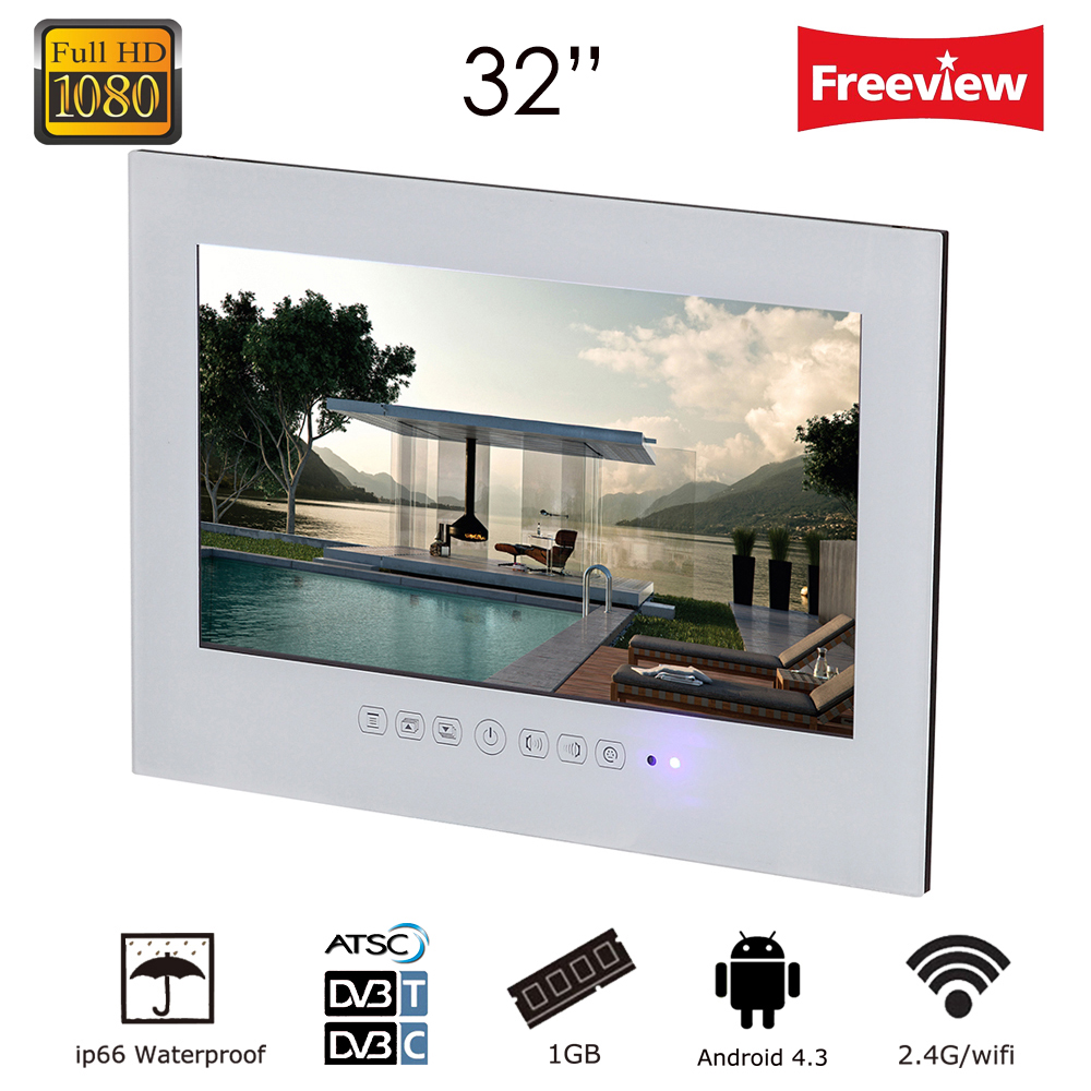 Souria 32 inch Android 4.2 smart WiFi 1080P White/Black Bathroom TV Shower Room IP66 Waterproof Internet LED TV