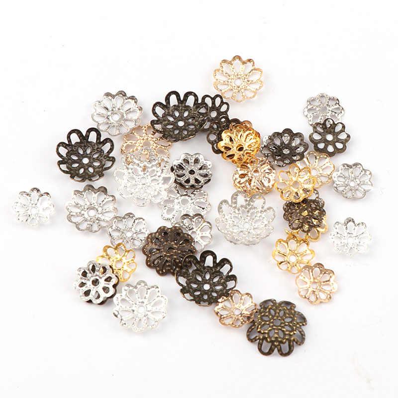 9 ملليمتر خمر الصغر المعدنية الجوف زهرة الخرز نهاية قبعات قلادة سحر diy قلادة سوار موصلات النتائج مجوهرات