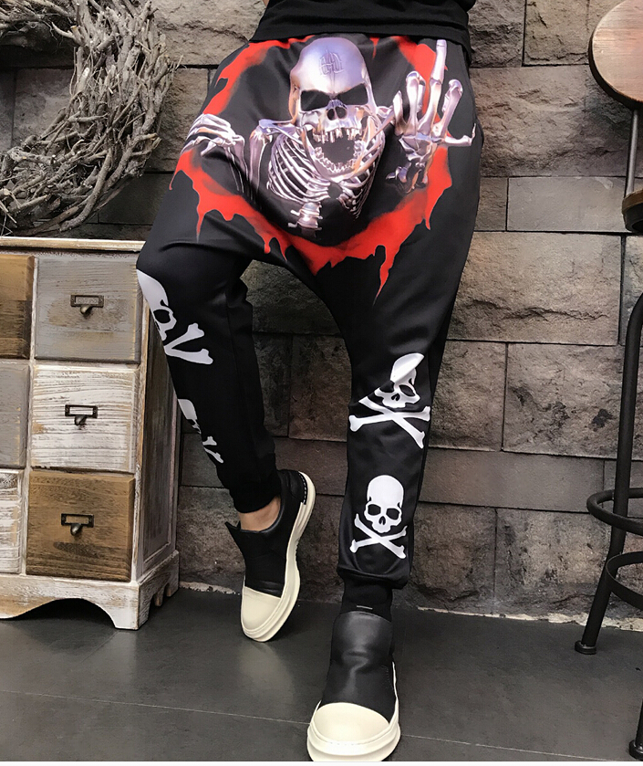 Summer 2019 New Men's Korean 3D Personal Skull Printing Cross-pants Leisure Pants Personal Printed Hallen Pants