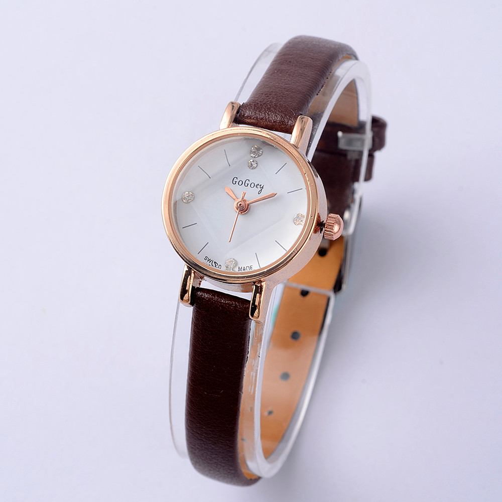 Gogoey Women's Watches Fashion Leather Small Watch Women Watches Luxury Crystal Ladies Watch Clock relogio feminino reloj mujer fashion bracelet watch women watches luxury crystal women s watches ladies watch clock relogio feminino reloj mujer montre femme