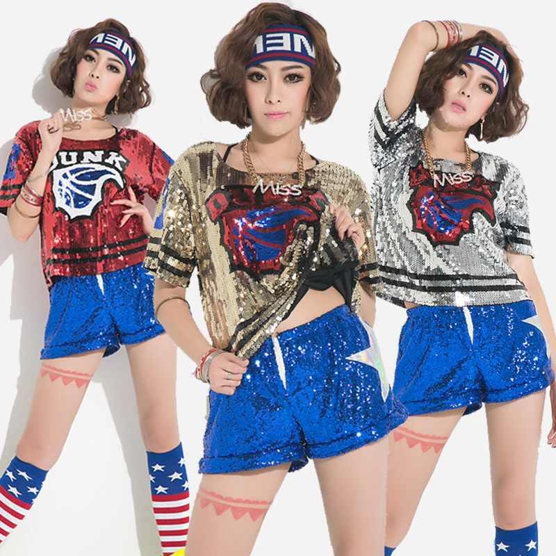 900443eb3294 Jazz Dancewear Stage Performance Hip Hop Disco Sequins Jazz Tshirt Shorts  Street Dance Clothing For Women