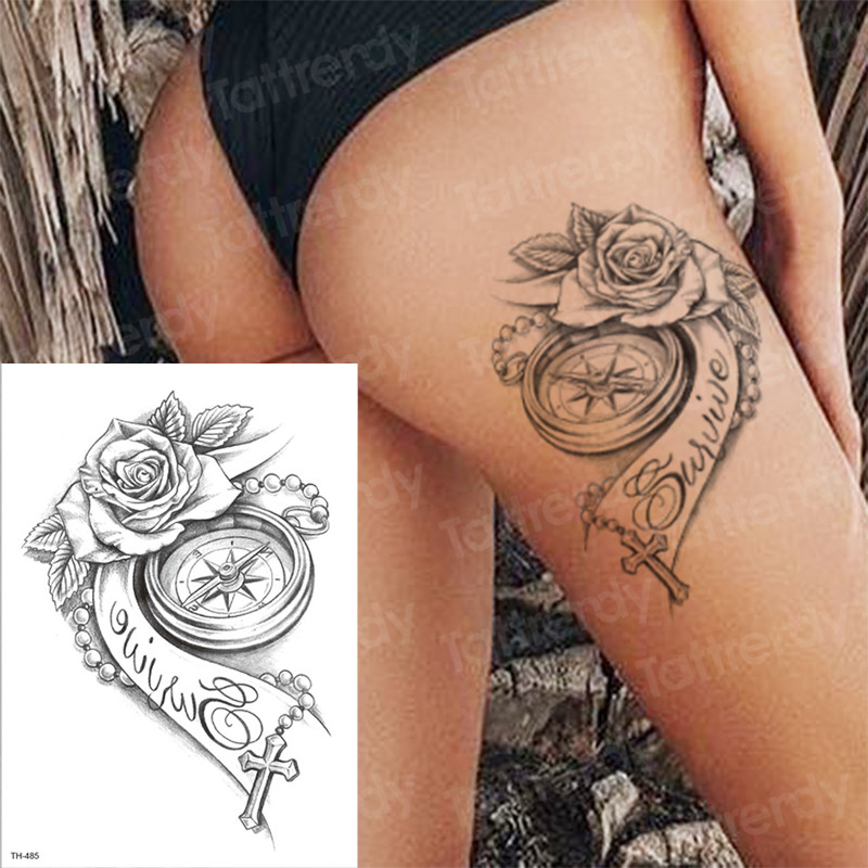 Temporary Tattoos Rose Girl Tattoo Body Thigh Leg Tattoo Sexy Summer Tatoo Big Water Transfer Tatto Compass Cross 3D Tattoos Arm
