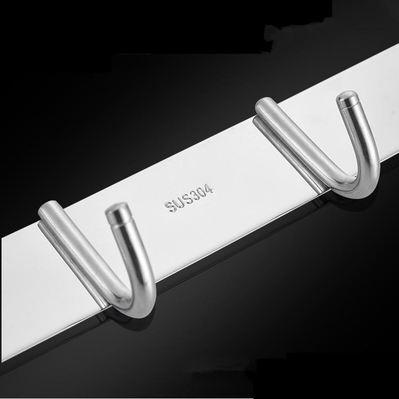 Hanger 3-8 Hooks for Kitchen Bathroom Bedroom Balcony SUS304 Stainless Steel Wall Mounted Cloth Rack Shelf