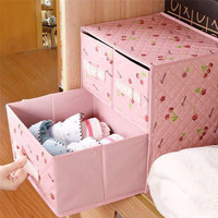 Lace Non woven Two Layer Three Drawer Bra Organizer Underwear Classified Storage Box Sundries Container Pink Color
