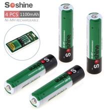 4pcs/pack Soshine Ni-MH AAA 1100mAh Rechargeable Batteries +Portable Battery Box 4pcs soshine 10440 280mah 3 2v lifepo4 rechargeable aaa battery portable battery box 2pcs battery connectors