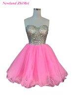 Baby Pink Стразы Коктейльные платья Sexy Милая Тюль Короткие Кристалл Тюль Бальные платья халат De коктейльное