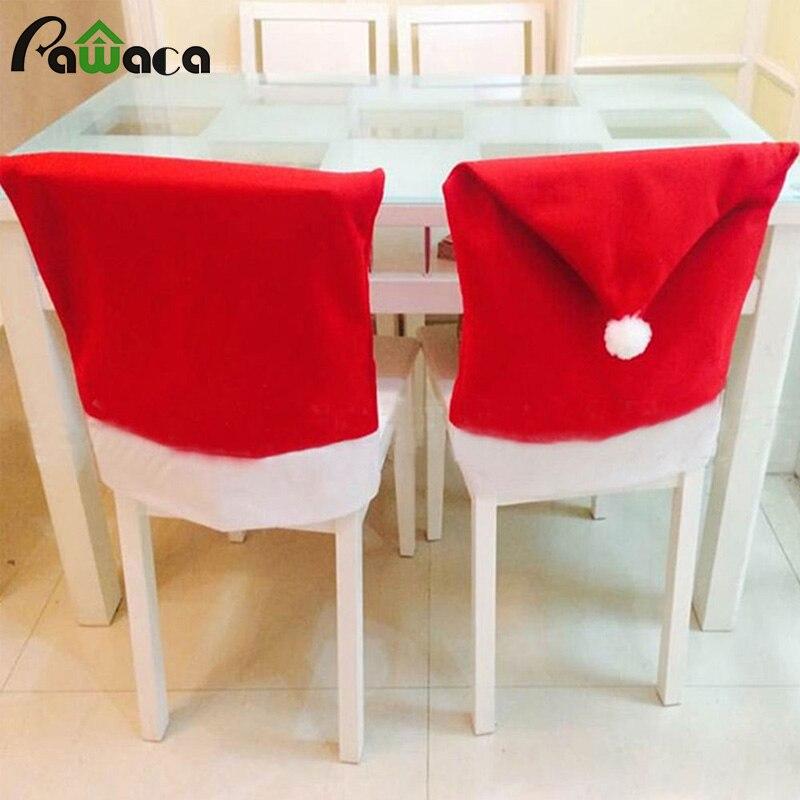 8 Pcs Santa Claus Hat Dining Chair Covers Ding Soft Christmas Party Decoration Housse De Chaise