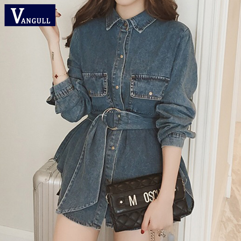 Vangull New Plus Size 4XL Denim   Jacket   Women Single Breasted Loose Long Belt Jean   Basic     Jackets   Big Pocket Turn-down Collar Coat