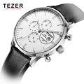 2017 TEZER Luxo Marca Completa de Aço Inoxidável-função Muti Data Analógico Relógio de Quartzo dos homens Relógio De Couro Dos Homens de Negócios relógio
