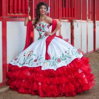 Embroidery Puffy Ball Gown Quinceanera Dresses Gowns 2017 Sweet 16 Pageant Dress Vestido de Debutante Para 15 anos Red Ruffles