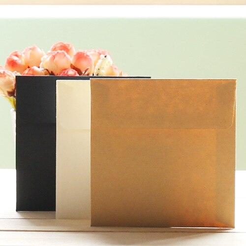10pcs/lot 10x10cm Mini Small White Kraft Black Paper Envelope Message Card Letter Stationary Storage Paper Gift