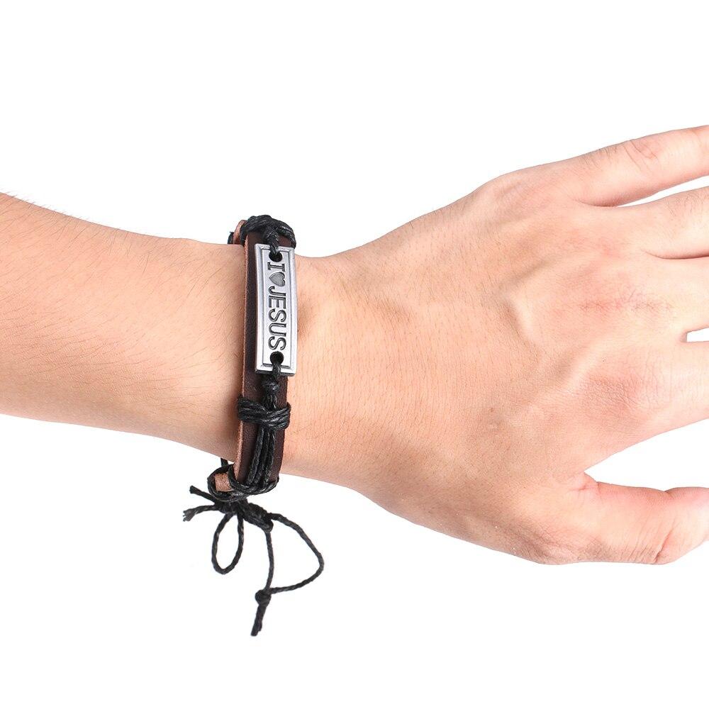 1 Pcs Hot Punk Men's Christian Charm Leather Wrap Cuff Bracelet Wristband