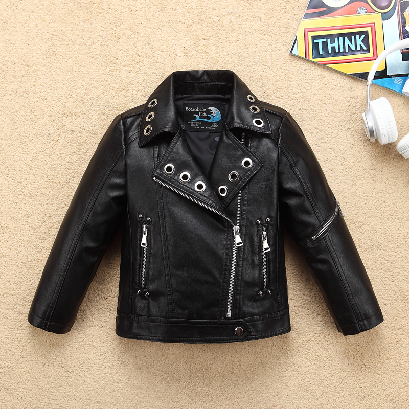 Fashion Cool Design Wind-proof Soft Girls Leather Jacket Turn Down Collar Leather for Autumn Winter Kids Motor Coat Bomber pocket design turn down collar single breasted denim jacket for men