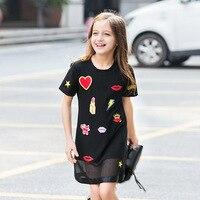 Kids Dress 2018 New Summer Girls Short Sleeve Web Design Pattern Princess Dress For Teenage Girl