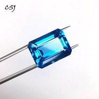 CSJ Природный Голубой топаз незакрепленный драгоценный камень глубокий цвет большой камень Oct15 * 20 мм 27ct блестящая резка для Diy ювелирных изде