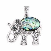 LOULEUR Vintage Antike Silber farbe Elefanten Shell Anhänger Halsketten Ethnische Natur Stein Anhänger für Frauen Männer Schmuck Zeug