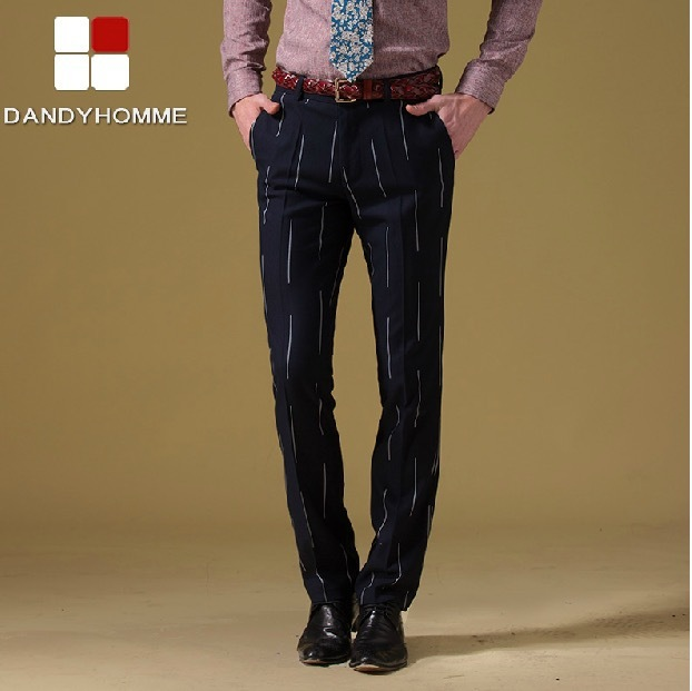 DANDY HOMME HIGH QUALITY 2015 new men autumn spring slim casual deep blue purple stripe suits long pants wedding business pant