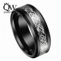 Queenwish 8 мм Для Мужчин's Вольфрам черный кельтский серебряный дракон кольцо Eternity Свадебные Кольца для пары ювелирные изделия