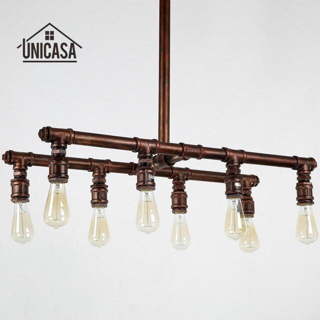 Gran industrial Lámparas colgantes hierro forjado tubo Iluminación ...