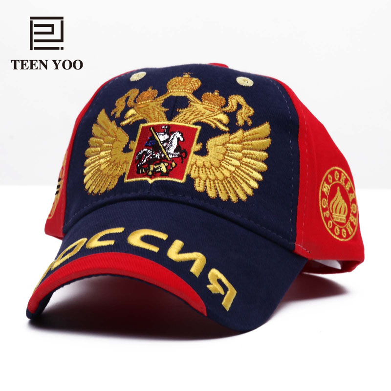 Fashion Embroidery Baseball Cap Russia National Emblem Golden Double-Head Eagle Cotton Outdoor Leisure Sports Sun Hat Snapback