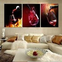 HD Baskılı 3 Parça Tuval Bağ Üzüm Kırmızı Şarap Cam Oturma Odası Boyama Duvar Sanatı Ücretsiz Kargo
