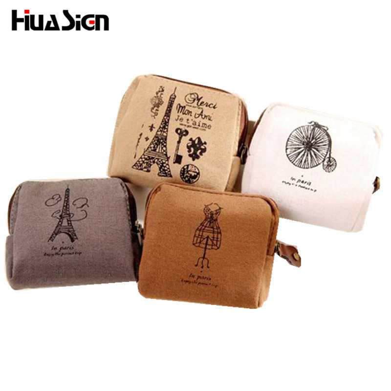 New Arrival Casual Portable Vintage Canvas Small Bags Coin Purse Key Wallets for Women  ...