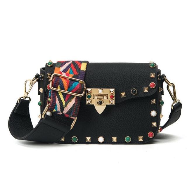 Fashion Women Crossbody Bag 2017 Vintage Rivet Colorful Wide Straps  Shoulder Bag Brand Design Mini Flap Lady Messenger Bags 2f2d4f8c4