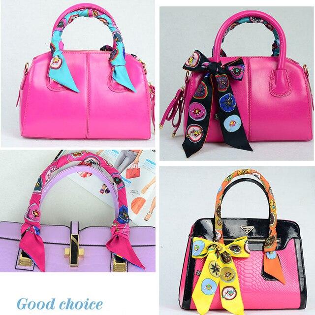 Badge Design Ribbon Silk Bandeau Hair Hoop Bag Wrist Accessory Handbag Handle Brand Scarves