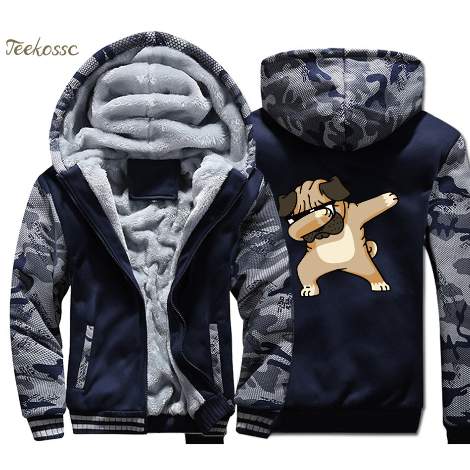 Dabbing Pug Hoodie Men Hip Hop Hooded Sweatshirt Coat Winter Warm Fleece Thick Zipper High Quality Jacket Camouflage Streetwear