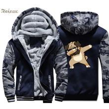 Dabbing Pug Hoodie Men Hip Hop Hooded Sweatshirt Coat Winter Warm Fleece Thick Zipper High Quality Jacket Camouflage Streetwear