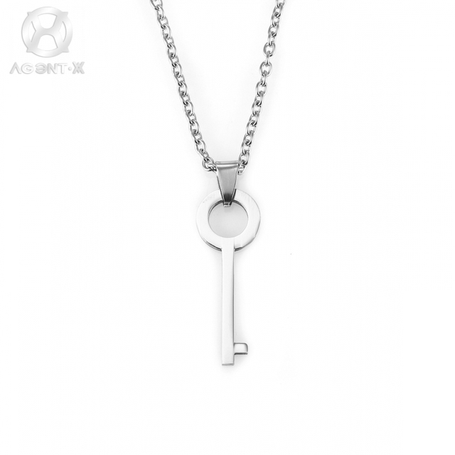 31ce0da77287 AgentX Llave de Plata Masculino Colgante de Acero Inoxidable de 70 cm de  Largo Cadenas Collar