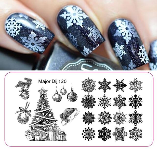 Stainless Steel Christmas Nail Art Decoration Snowflake Nail Plates