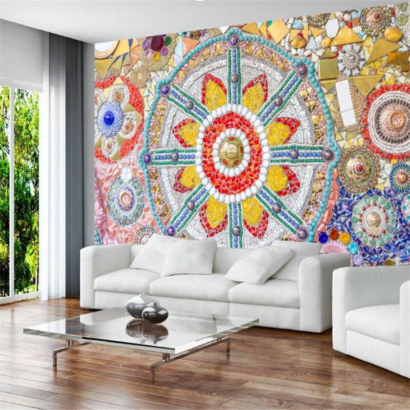 Custom Wallpaper For Walls 3 D European Vintage Bohemian Jade Mosaic Textured Wallpaper Modern Living Room Decor Wall Mural Home Improvement