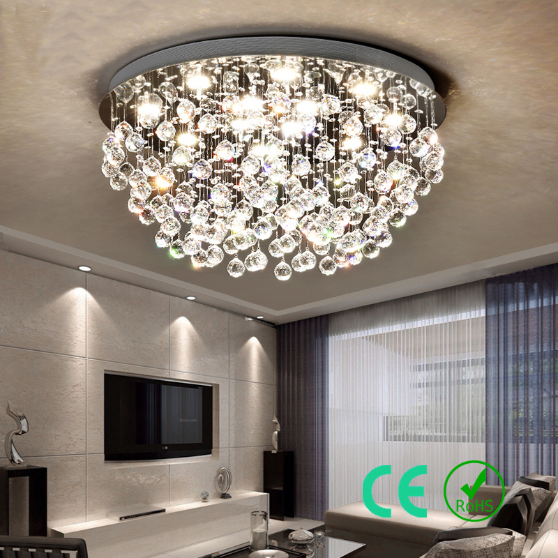 Ceiling Lights & Fans Smart Modern Round K9 Crystal Ceiling Lamp Led Lighting Lamps Living Room Restaurant Crystal Lights E14 Led Free Shipping Ceiling Lights