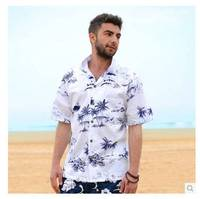 2014 Latest Men Casual Hawaiian Leisure Printing Loose Shirt Male Cotton Short Sleeves Beach Resort Shirt