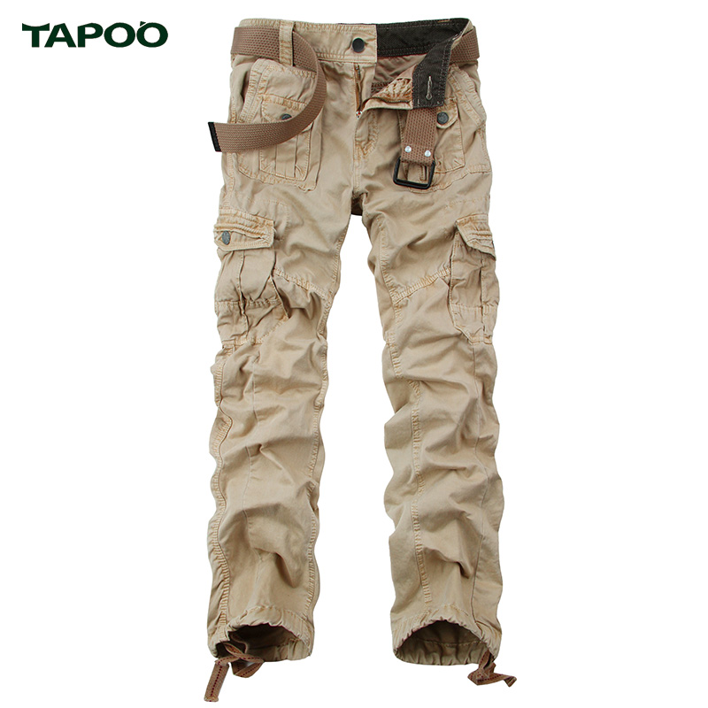 TAPOO New Men s Casual Pants Overalls Solid Full Cargo Pants With Autumn Winter 100 Cotton