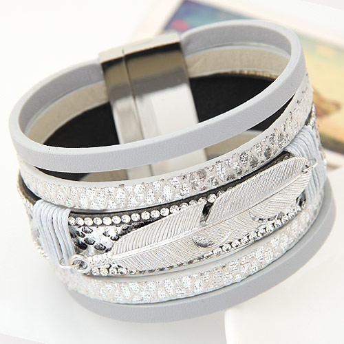 LEMOER Fashion Alloy Feather Leaves Wide Magnetic Leather bracelets & bangles Multilayer Bracelets Jewelry for Women Men Gift