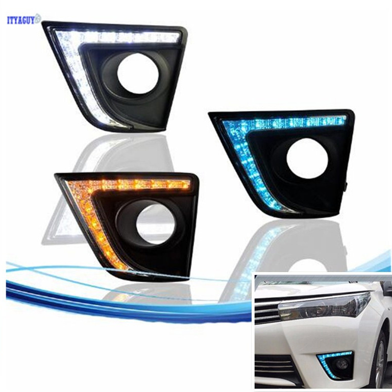 For Toyota Corolla 2014 2015 Daytime Running Light DRL Fog Lamp turn signal Decoration cover Car Stlying Waterproof ABS 12V LED car stlying 12v led daytime running light drl fog lamp decoration for peugeot 508 2012 2013 2014 2015 2016 2pcs
