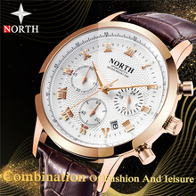 North Mens Watches Top Brand Luxury Chronograph Quartz Watch Men Leather Strap Auto Date Fashion Casual Sports  Rolex_watch