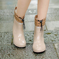 2016 Calientes Del Invierno Botas de Lluvia Con Algodón Acolchado Damas Tobillo de Las Mujeres Botas de Mujer Zapatos de Los Planos de Cuero de Goma Pvc Rainboots