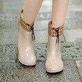 2016 Inverno Quente Botas de Chuva Com Algodão Acolchoado Senhoras de Borracha Pvc Tornozelo Mulheres Botas de Couro Sapatos Flats Mulher Rainboots