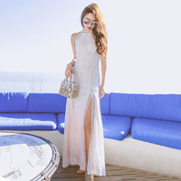 2017 New Summer Vacation Bohemia Diamond Lace Halter Neck Dress Hanging Split Dress Thin Woman