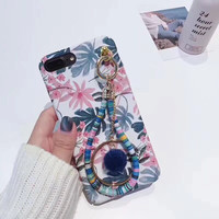 NEW Fashion Flower Printing 3D Chain Hand String Mobile Phone Cases For IPhoneX 10 8 8Plus