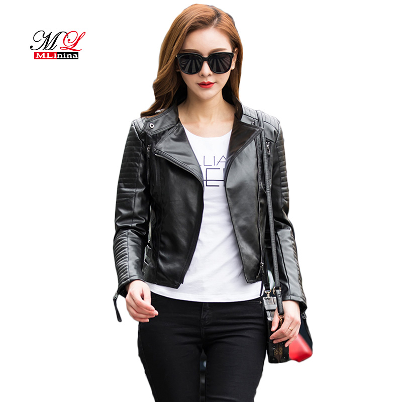 MLinina 2019 New Punk Leather Jacket Women Soft Faux Jackets Slim Pu Suede Female Basic Jackets Moto Biker Leather Coat Outwear