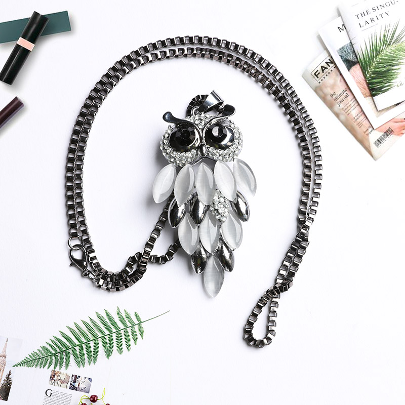 Owl Sweater Chain Woman Dominated Women The Owl Sweater Chain Necklace Pendant Necklace Wholesale Upscale Female Jewelry Gift