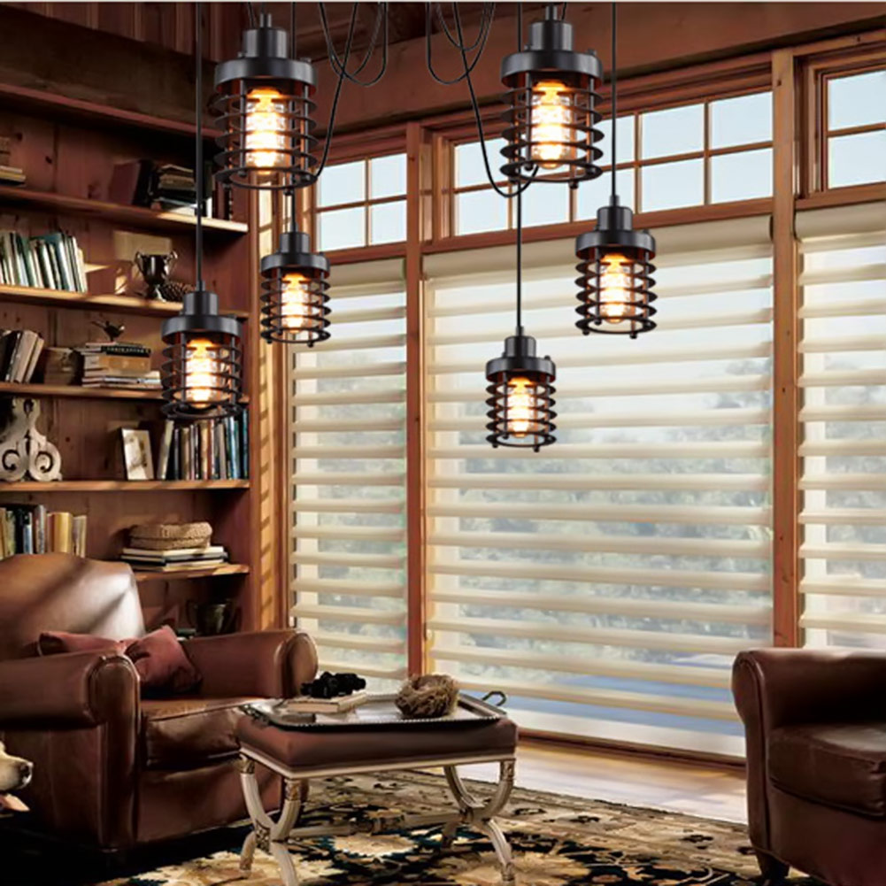 Countryside Black Vintage Industrial Pendant Lights Retro Lights Iron Lampshade Loft Edison Nordic Lamp Metal Cage Dining Room vintage edison chandelier rusty lampshade american industrial retro iron pendant lights cafe bar clothing store ceiling lamp
